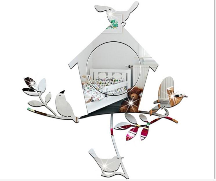 3d De Dessin Anime Acrylique Miroir Autocollants Oiseaux Sur Une
