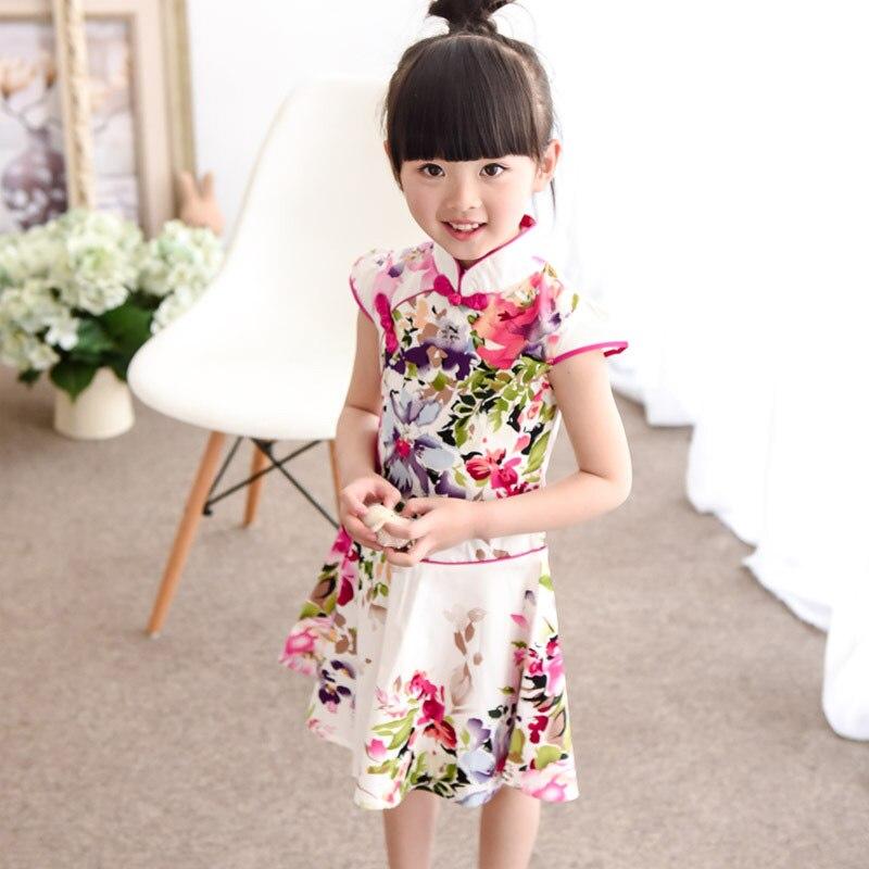 128fb0eeea52 Cotton Children Cheongsam Summer Princess Dresses for 5 14 Years ...