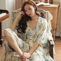 Kadın kış pijama kadın Kore orijinal kumaş seksi gecelik gevşek geniş bacak pantolon uzun kollu giyim Ev Mobilya