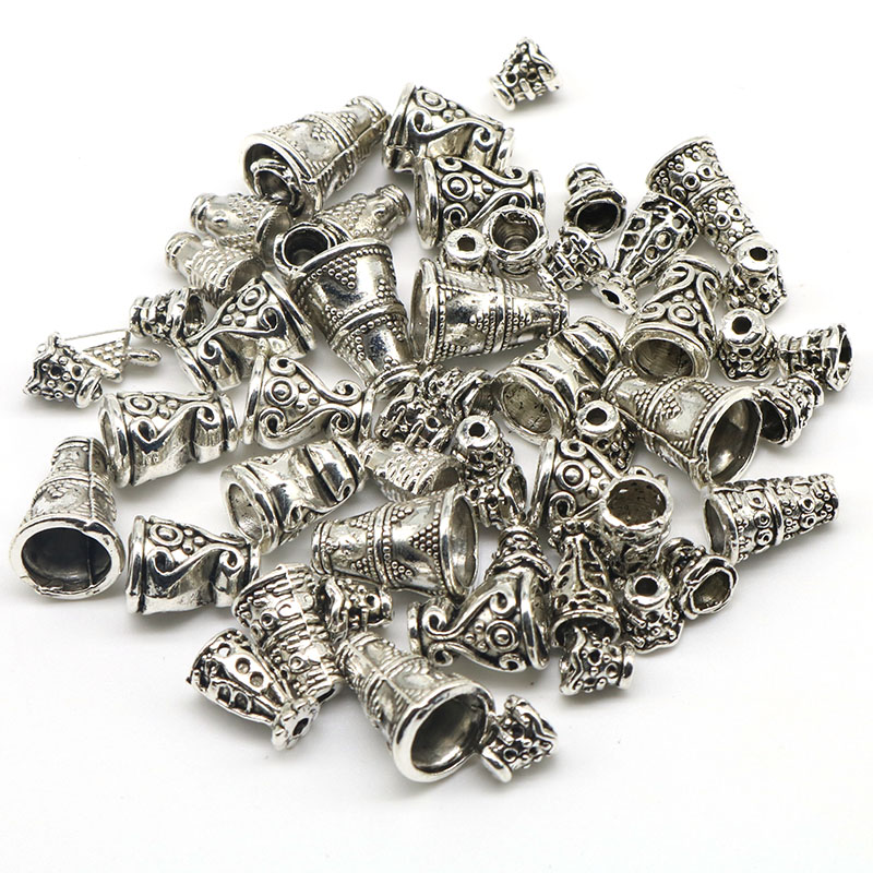 Mixed Size Wholesale 50pcs/lot Trumpet Petunia Flower Bead Caps Conical End Beads Cup Charms Jewelry Findings Components