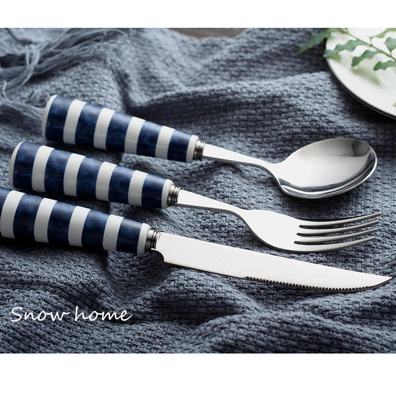 3pcs Set Cutlery Set Blue Striped Cutlery Spoon Ceramic Handle Stainless Steel Cutlery Navy Style Main Table Knife Spoon Dinnerware Sets Aliexpress