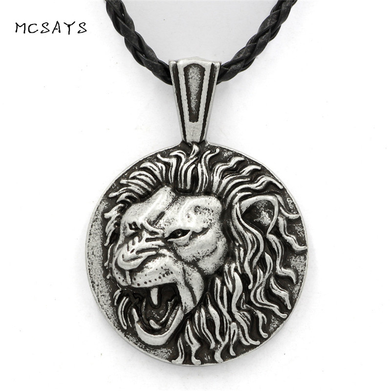 MCSAYS Norse Viking Stainless Steel Mens Jewelry Celtic knot Lion Head Totem Pendant Rope Chain Necklace Amulet Gifts 1SL