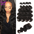 7A Brazilian Virgin Hair With Closure 4 Bundles Brazilian Body Wave With Closure Unprocessed Human Hair With Closure