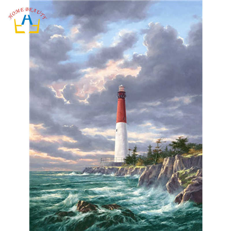 Seascape paintings by numbers on canvas lighthouse pictures of nordic wall paintings for the kitchen home decorations WY5064