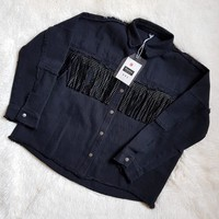 Mooirue Autumn Spring Punk Jeans Jacket Without Rivet Flash Tassels Loose Coat Jacket Women Straight Casual Black Cardigan
