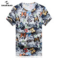 SHAN BAO Brand Clothing Butterfly Print Color Sky Silk Slim T-shirt 2017 Summer T-shirt Men Short Sleeve T-shirt 17060