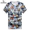 Shan bao marca clothing impresión de la mariposa de color cielo de seda delgado t-shirt 2017 camiseta del verano hombres de manga corta camiseta 17060