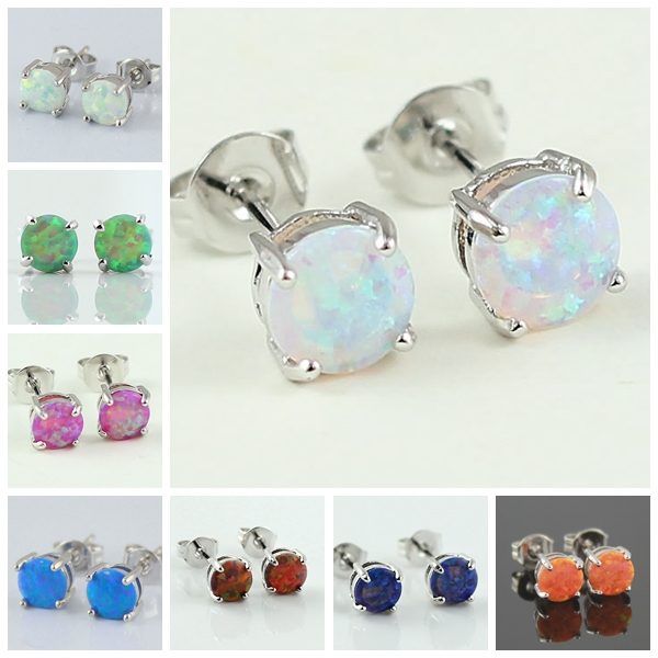 Wholesale 2015 New Arrival Classical Round Cut 6mm Synthetic Fire Opal  Women  Fashion Inlay Stud Earrings
