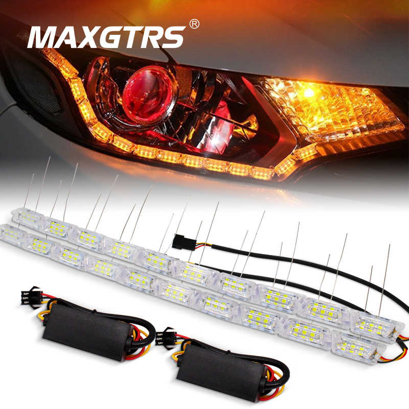 2x Double Color Car Flexible Led Strip Light Crystal Flexible Tube Light DRL Daytime Running Light Waterproof Car Styling