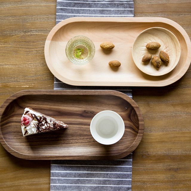 Black Walnut Quality Wooden Serving Trays Home Storage Creative Decorative Tea Fruit Dessert Tableware Tray