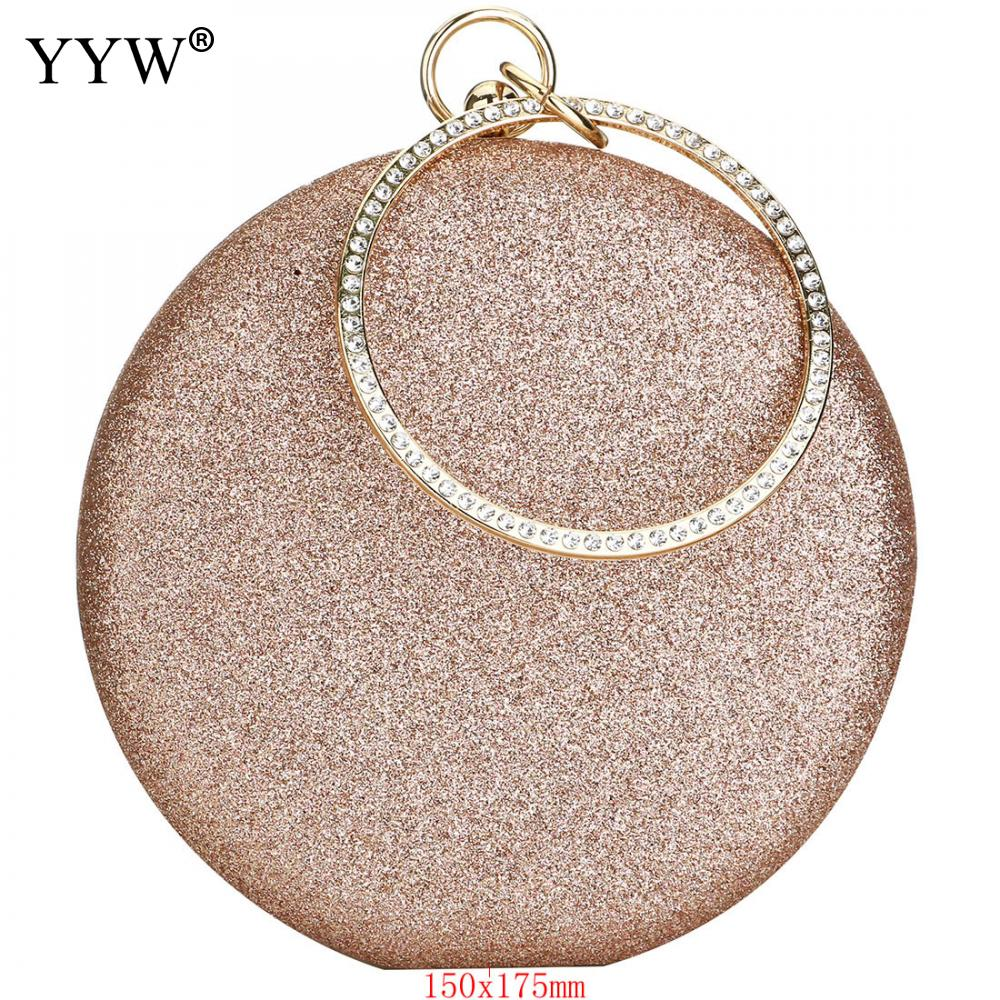 Clutch Rose Gold Gillter Handbag Wedding Evening Women Clutch Round Bag Round Purses And Handbags Crossbody Party Shoulder Bags(China)
