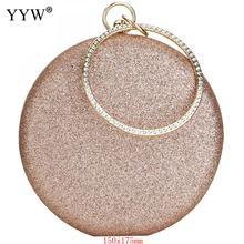 Bolso de mano de oro rosa para mujer, pochette de noche o boda, redondo, cruzado