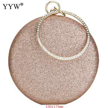Clutch Rose Gold Gillter Handbag Wedding Evening Women Clutch Round Bag round Purses And Handbags Crossbody Party Shoulder Bags - DISCOUNT ITEM  30% OFF All Category