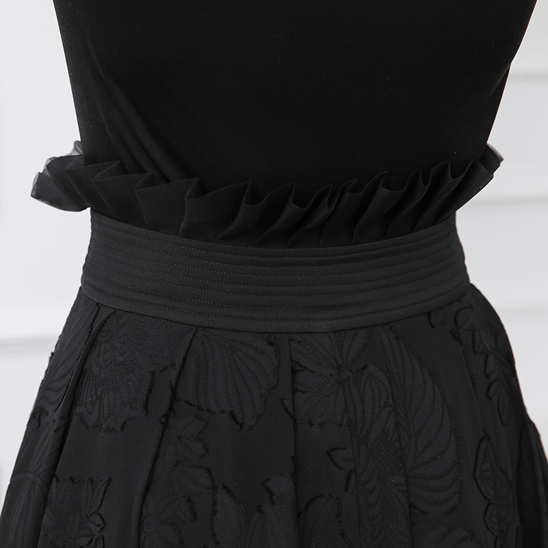 7327f9fd2 VOA Silk Embroidery Skirts Black Midi A Line Skirt Women Plus Size 5XL  Basic Solid Office Casual Summer High Waist Ruffle C303-in Skirts from  Women's ...