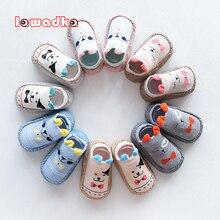 Детские носки с резиновой подошвой для новорожденных девочек и мальчиков; сезон осень-зима; детские носки-тапочки; нескользящие носки с мягкой подошвой