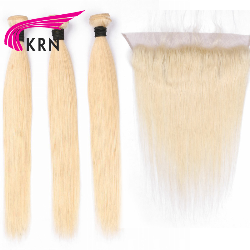 KRN #613 Brazilian Remy Hair 3 Pieces Bundles With 13*4 Ear To Ear Lace Frontal Closure Blond Straight Human Hair Extensions