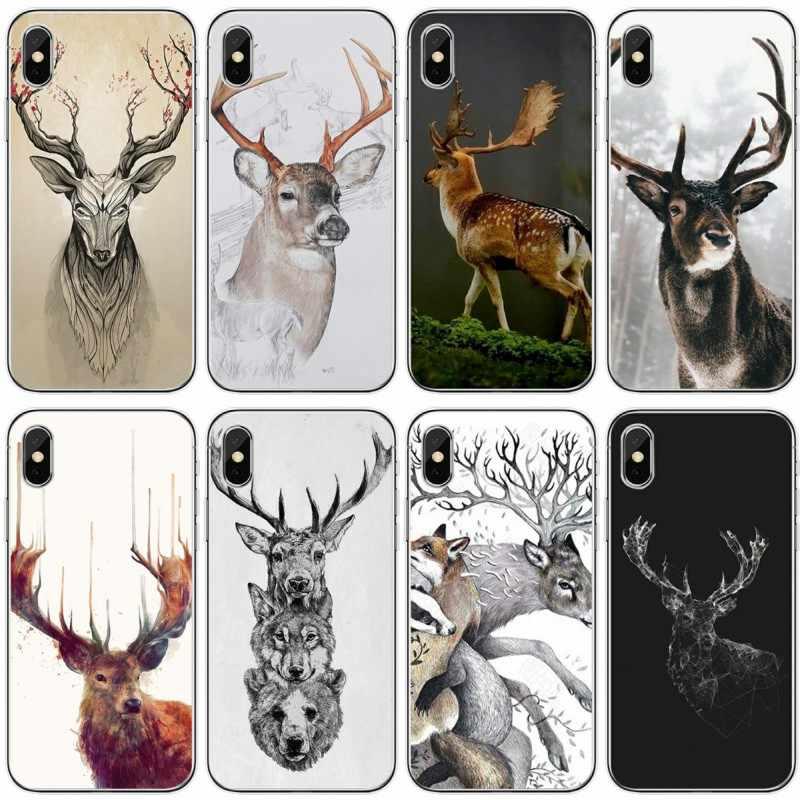 Tối giản động vật Hươu Tối Giản động vật Silicone Mềm Ốp Lưng Điện thoại Iphone 6 6 Plus 7 8 Plus 5 5S 5C SE X XS XR XS Max