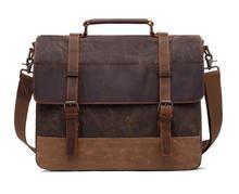 Mens Shoulder Bag 15.6 Inch Oil Wax Canvas Male Crazy Horse Leather Briefcase Vintage Handbag