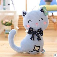 Sur 30 cm de bande dessinée amour bleu cat en peluche jouet bowtie cat doux poupée de noël cadeau b0855
