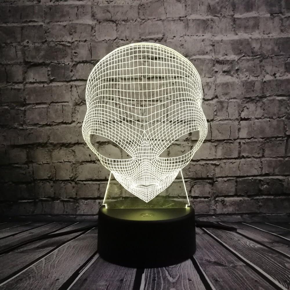 Lámpara 3D Alien Head Toy USB LED Iluminación 7 colores Cambio de - Luces nocturnas - foto 2