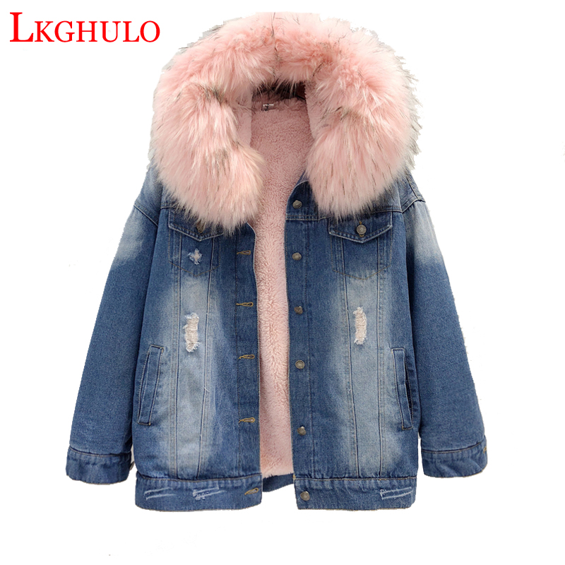 Winter Warm Thick Removable Hooded Fur Denim Jacket Women Long Jacket Warm Jean Coat winter woman Coat Big Fur Warm Parka W647