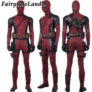 Image 2 - Deadpool 2 Wade Wilson Cosplay kıyafet cadılar bayramı kostümleri DP2 bir kez bir Deadpool kırmızı Suit tulum maskesi ayakkabı kemer özel yapılan