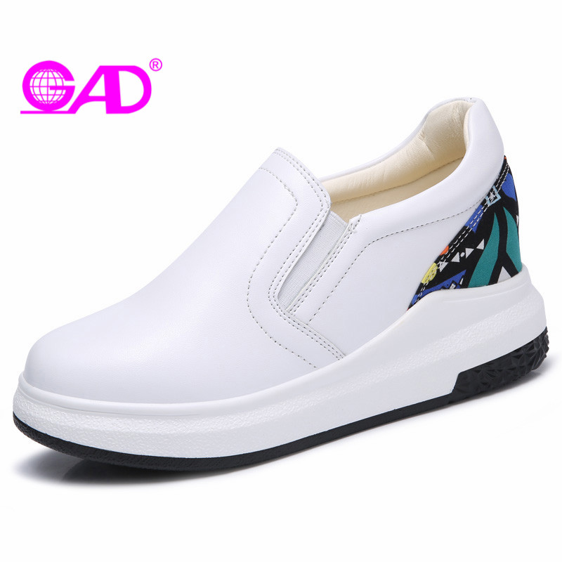 GAD Women Leather Loafers Spring/Autumn New Style Round Toe Elastic Band Women Casual Shoes Fashion Comfortable Flat Shoes Women hot sale 2018 new fashion lightweight breathable shoes leather flat women shoes comfortable classic style casual sneakers