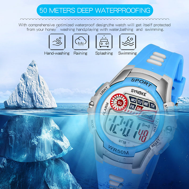 Obliging 1 Pcs Children Kids Student Digital Electronic Watch Waterproof Round Dial Adjustable Strap Aic88 Durable Modeling Children's Watches