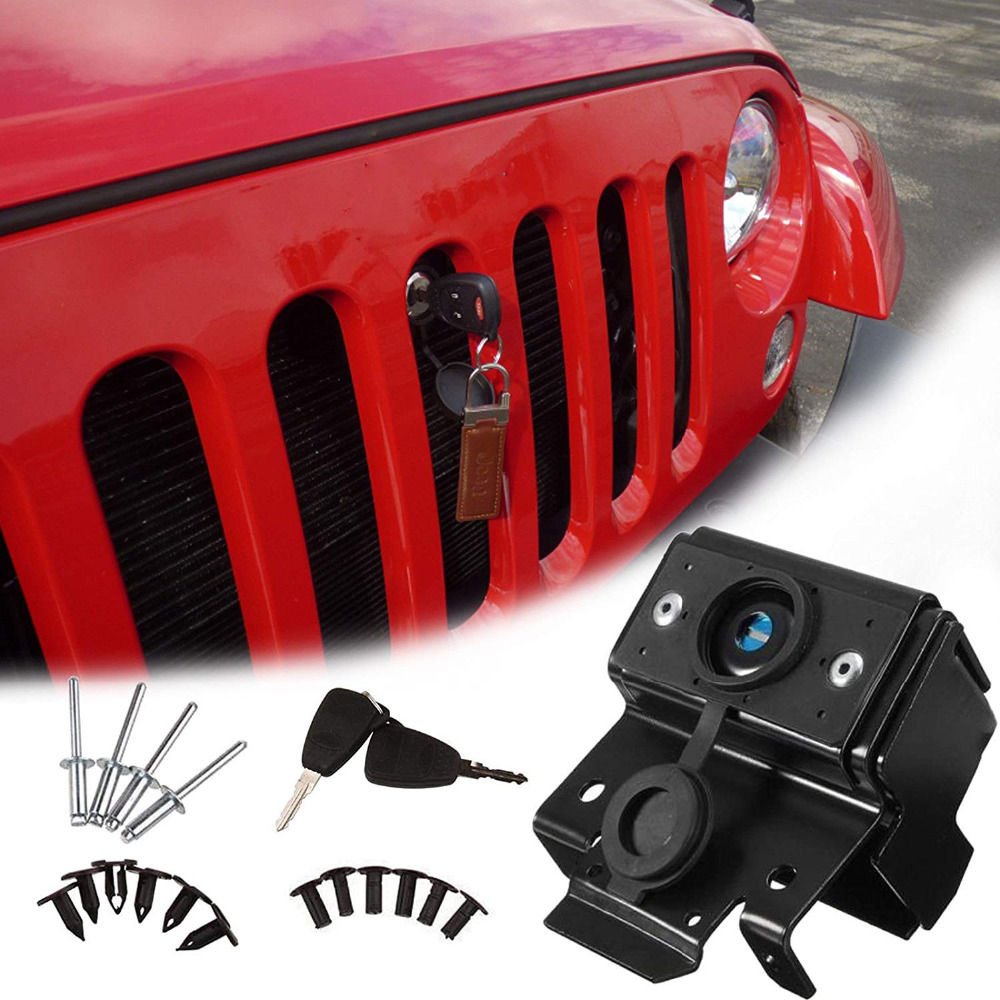 купить 1 Set Hood Lock For Jeep Wrangler JK 2007-2017 Front Engine Compartment Hood Cover Lock Kit Anti Theft Grille Lock With Key недорого