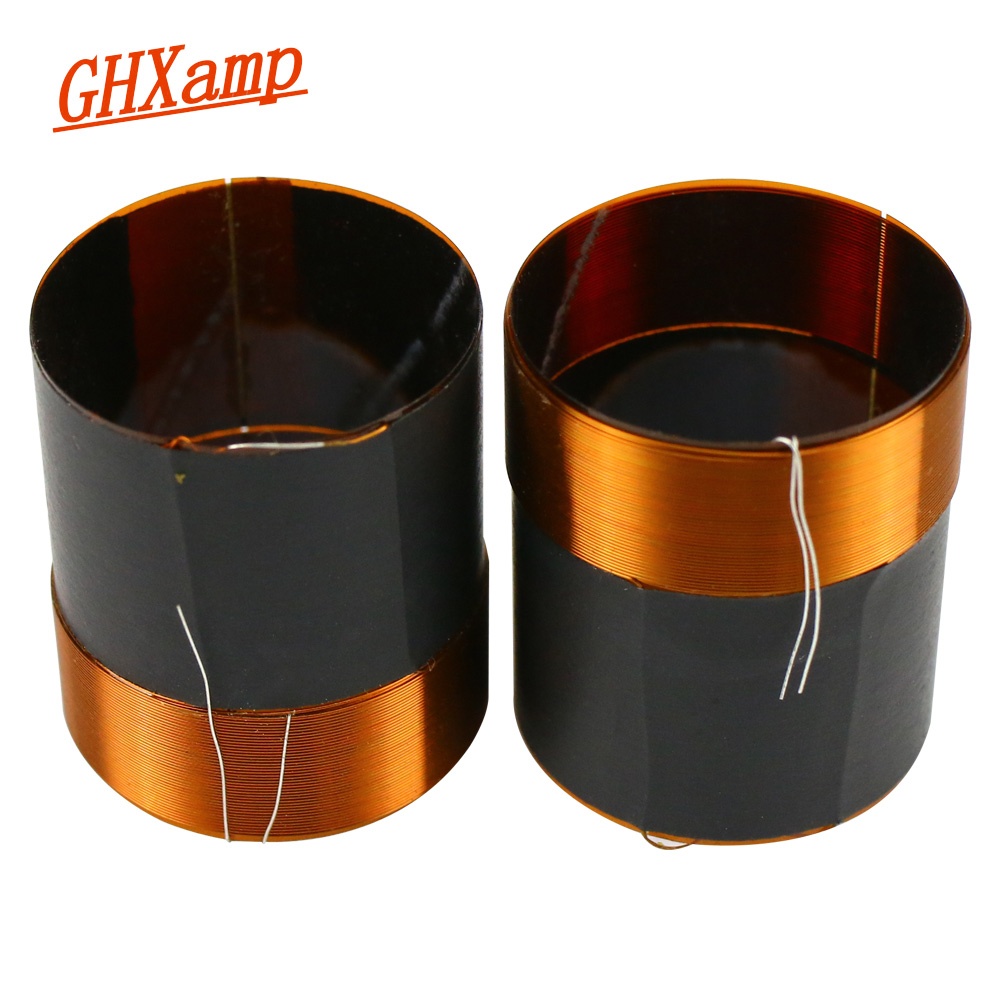 GHXAMP 25.5mm 4ohm Bass Voice Coil Woofer Speakers Repair Parts 25 Core High Power Black Aluminum Round Copper Wire 2PCS