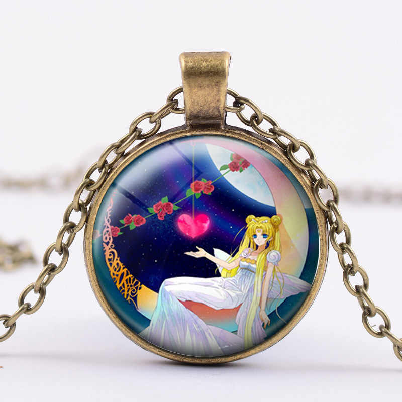3 Color Fairy in Moon Photo Necklace Angel Jewelry Crescent Moon Pendant Glass Cabochon Chain Choker Neckless for Women Men Girl
