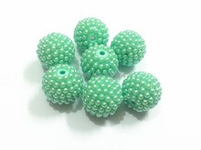 Wholesale !     20MM 100pcs/lot  Mint Green  Pearl Rhinestone Beads  For Fashion Kids Necklace Making