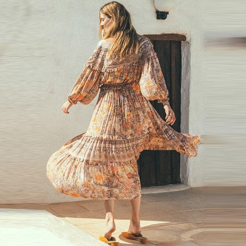 BOHOFREE ethnique Floral Maxi robe vcou manches longues volants lâche à lacets Hippie bohème Vestidos Boho Chic femmes robe de mode