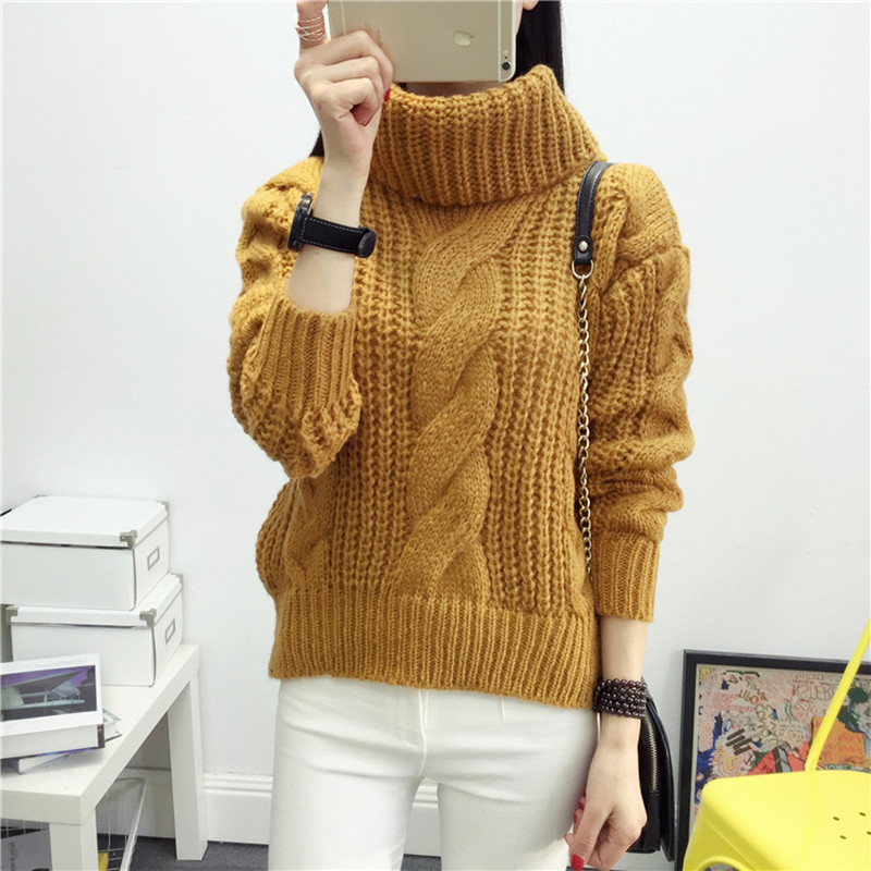 sweater women The new fashion mohair turtleneck turtleneck sweater pile collar knitted sweater christmas sweater