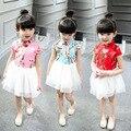 En nombre de las nuevas chicas Coreanas visten los hilos del bordado juntos flores Tang Traje Qipao vestido L088 niños