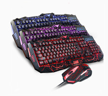 Wonderful V100 mechanical really feel backlit recreation keyboard mouse combos wired gentle mouse keyboard swimsuit Russian sticker