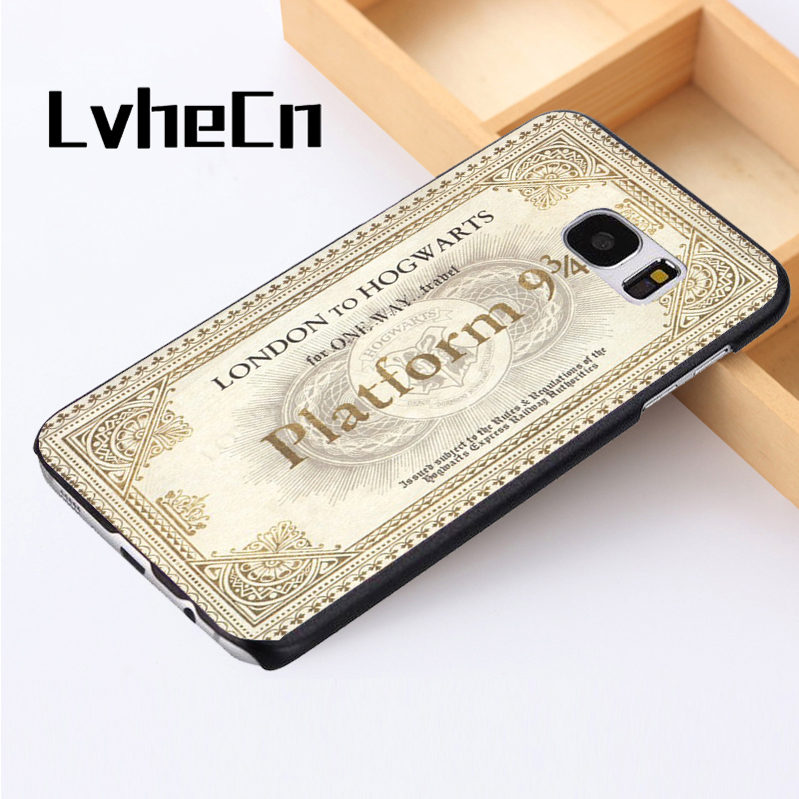 LvheCn phone case cover For Samsung Galaxy S3 S4 S5 mini S6 S7 S8 edge plus Note2 3 4 5 7 8 Harry Potter Hogwarts Train Ticket