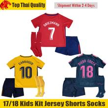 2017 Top Thai Best Quality Kids Jersey 17 18 Atleticoes Madrides Home Red Black kids Custom Shirt J.M.GIMENEZ GRIEZMANN