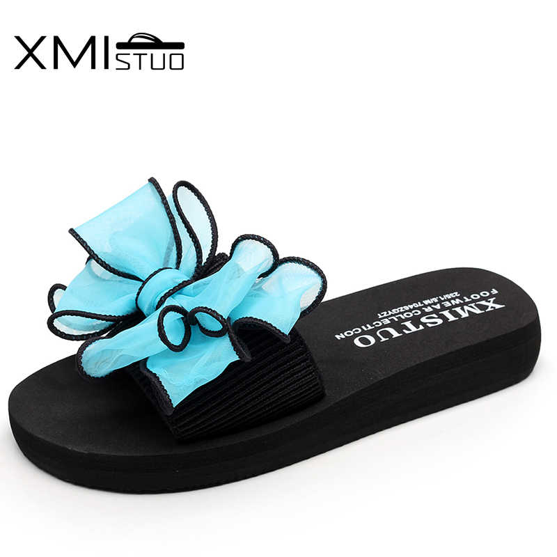 e1ed80d56 ... XMISTUO Brand Women cool Non-slip Slippers Elastic word with colorful  bow flat outdoor comfortable ...