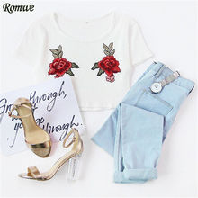 ROMWE T-shirt Women Crop Tops Women 2017 Summer Tops White Flower Embroidered Short Sleeve Ribbed Crop T-shirt