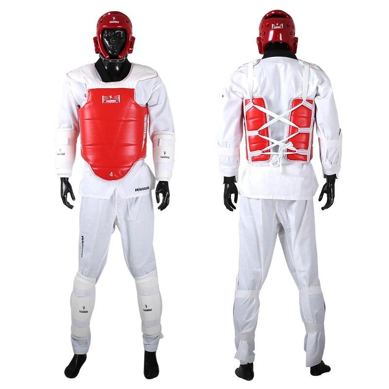 Protecteur de Taekwondo de haute qualité épaississement WTF approuvé 5 pièces + 1 sac casque de poitrine shinguard protège-bras Protection d'aine enfants adultes