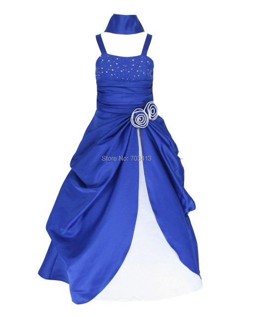 RB6008 free shipping royal blue & white satin occasion party flower ...