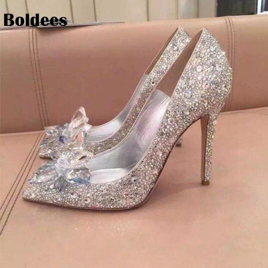 0cad2f00bfb1 Shiny rhinestone bride wedding shoes woman glitter big crystal pointed toe  stiletto high heeled pumps for
