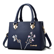 Women Summer PU Leather Luxury Handbag Designer Soft Bag Inclined Shoulder Embroidery Female Leather Shoulder Bag Dropshipping 2017 spring and summer new ladies handbag simple single shoulder bag women luxury handbag designer fashion inclined shoulder bag