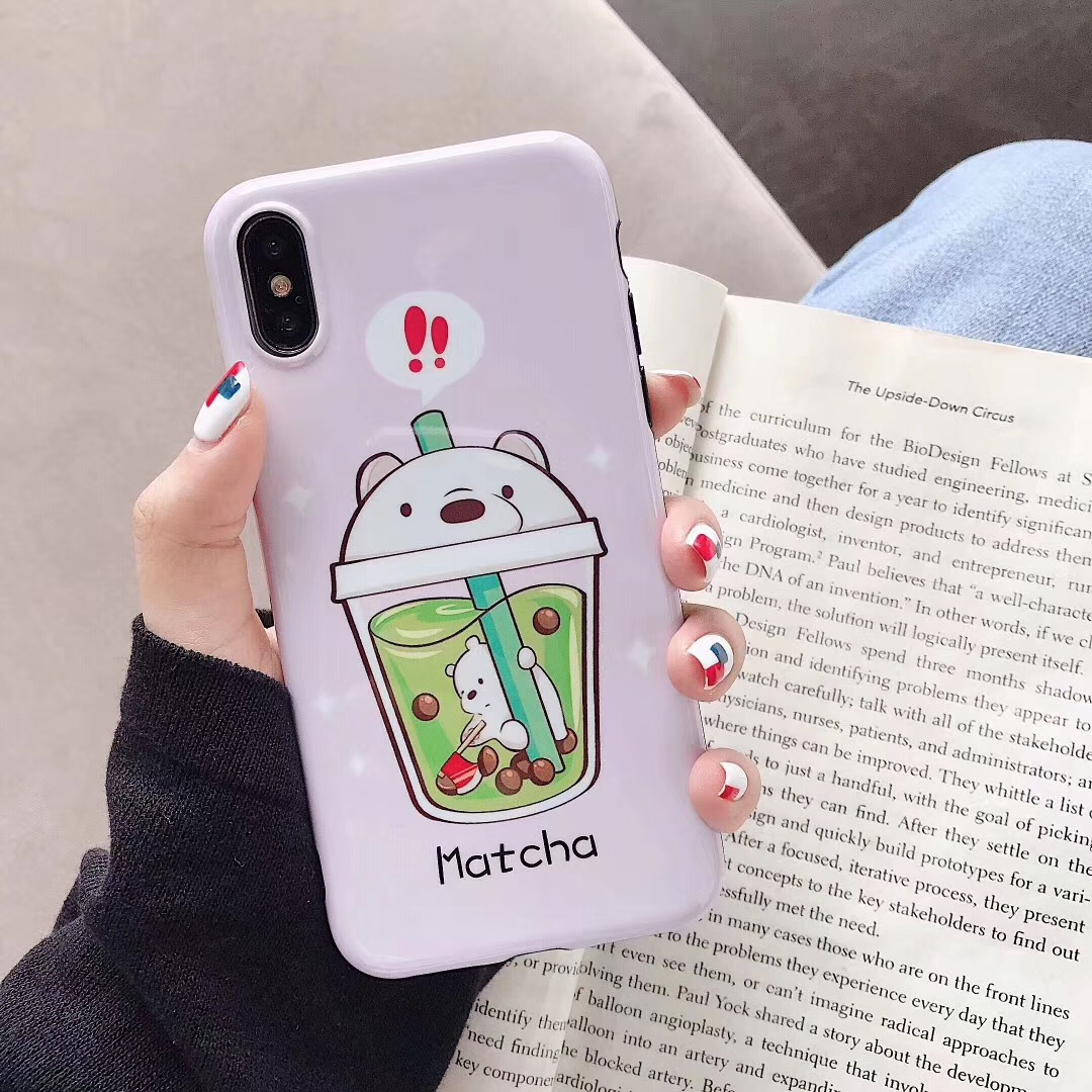 New Cartoon Pearl Milk Tea Iphone Accessories
