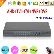1080P CCTV Camera Hi3521A 32CH 32 Channel 2 SATA 5 in 1 1080N Hybrid Coaxial Wifi Onvif IP NVR TVI CVI AHD DVR Free Shipping