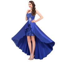 Грейс Карин вечерние платья 2017 Королев синий короткий передний долго назад выпускного beer атлас платье вечернее платье Росс GR rustle платье