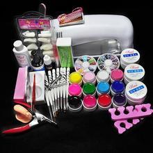 9w UV Lamp UV Gels Gel Nail Kit Cleanser Plus Top gel Nail Polish Tool Nail Tip Kit File brush Buffer Nail Art tools Set