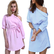 Spring Autumn Vintage Sexy Ladies Striped One-shoulder Neckline Sheath Dress With Sashes Shirts Dresses Women Shirt Paty Dresses heathered flounce layered neckline sheath dress