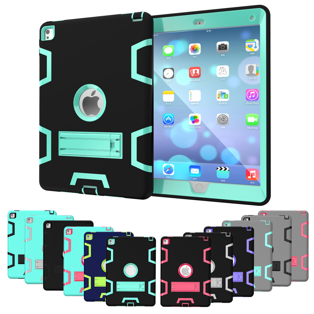 Tablet Case for Apple iPad Pro 9.7 inch model A1673 A 1674 A1675 Extreme Heavy Duty Shockproof Anti-Dust Rubber Cover with Stand new black case for ipad pro 9 7 heavy duty plastic rubber cover case for apple ipad pro 9 7 hybrid 3in 1 with stand holder